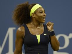 Serena Williams of the USA celebrates her quarterfinal victory Thursday against Ana Ivanovic of Serbia.