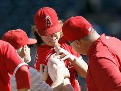 An MRI on Jered Weaver's right shoulder revealed tendinitis apparently unrelated to the line drive.