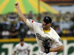 Roger Clemens, 50, pitches Aug. 25 for the Sugar Land Skeeters. He allowed one run in 31/3 innings in his return to baseball.