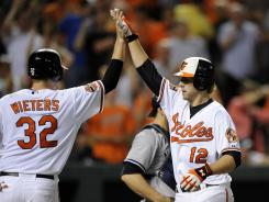 Orioles catcher Matt Wieters, left, congratulates Mark Reynolds on a two-run homer Thursday vs. the Yankees. Reyonlds hit two of the Orioles' season-high six in a 10-6 win.