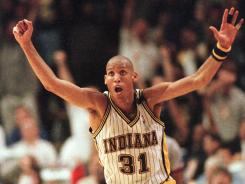 Known for his clutch shooting, Reggie Miller averaged 18.2 points in his 18 NBA seasons.