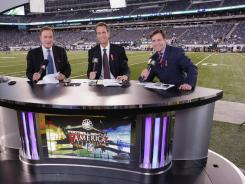Left to right, Al Michaels, Cris Collinsworth and Bob Costas are the lead announcers on NBC Sunday Night Football that has displaced Fox's American Idol as TV's top-rated series.