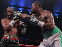 Chad Dawson, right, trades connects with a jab against Bernard Hopkins during their title bout at Boardwalk Hall in Atlantic City in April. Dawson won by decision to claim Hopkins' light heavyweight title.