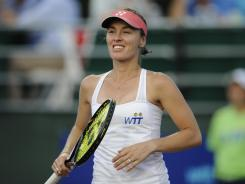 Martina Hingis, shown here playing in July for the New York Sportimes of World TeamTennis, was the biggest name nominated to the International Tennis Hall of Fame.
