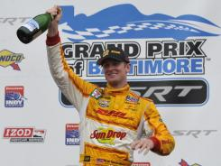 Ryan Hunter-Reay celebrates his recent victory at the Grand Prix of Baltimore.