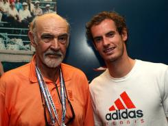Sean Connery poses with fellow Scot Andy Murray after Murray defeated Tomas Berdych to reach the U.S. Open final.