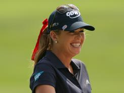 Paula Creamer smiles after finishing her round Saturday at the Kingsmill Championship.