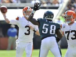 Cleveland quarterback Brandon Weeden (3) had a rough day in his first start, including four interceptions.