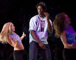 North Carolina's Harrison Barnes dances during 'Late Night with Roy' before playing well in the Tar Heels' scrimmage on Friday in Chapel Hill, N.C.