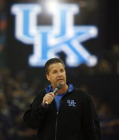 Kentucky coach John Calipari addresses the crowd at midnight madness at Rupp Arena.