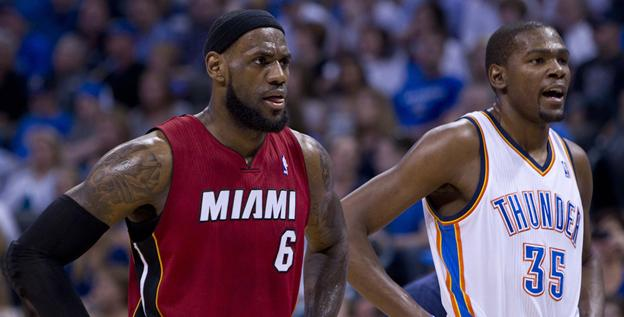 Heat forward LeBron James, left, and Thunder forward Kevin Durant were first and second in NBA MVP voting this season.