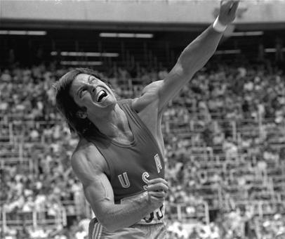Bruce Jenner Wins Decathlon on Bruce Jenner Lets The Shot Put Fly During The Decathlon Competition At