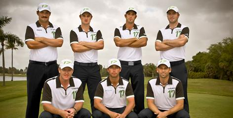 Back row: Johnson Wagner, Justin Rose, Dustin Johnson and Martin Laird; and front frow, Marcus Fraser, Chez Reavie and Sergio Garcia.