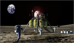 An artist's concept drawing of NASA's Crew Exploration Vehicle and lander on the moon. NASA will delay the first manned flight of the new spacecraft because of budget constraints.