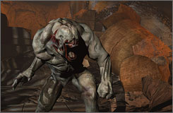 A Hellknight attacks in a scene from Doom 3.  University of Southern California sociologist Karen Sternheimer says blaming video games for youth violence fails to take into account other major factors.