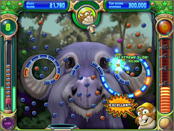 The downloadable game ?Peggle? from PopCap Games is similar to pinball in that you shoot a silver ball and try to get it to bounce around and hit orange and blue pegs to get points.