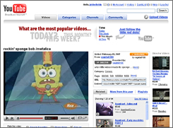Nickelodeon character SpongeBob SquarePants shows up in this video on YouTube. Nickelodeon owner Viacom is suing Google and YouTube for copyright infringement over videos like this one.