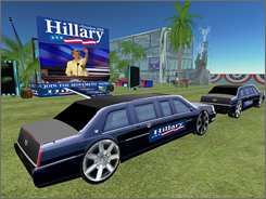 A computer grab from the virtual world Second Life shows the campaign site of U.S. presidential candidate Senator Hillary Clinton (D-NY) with her motorcade parked nearby.