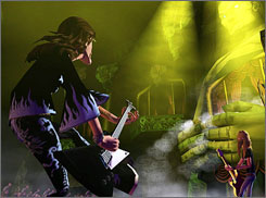 A scene from Guitar Hero II. The popular game is teaming with MTV for Rock Band, which includes drums, two guitars and a microphone.