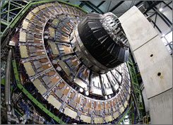 A view of the magnet core of the world's largest superconducting solenoid magnet at CERN's Large Hadron Collider (LHC) particle accelerator. A 43-foot-long magnet for the collider recenlty broke.