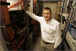 Nick McKeown, one of the faculty directors of the Clean Slate Initiative at Stanford University, in the communications closet at Gates Computer Science Building in Stanford, Calif.