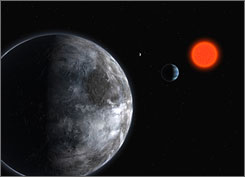 Artist's impression of the system of three planets surrounding the red dwarf Gliese 581. One of them is the first rocky planet lying in the habitable zone to have been discovered.