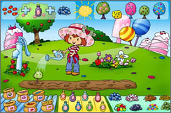 In 'Strawberry Shortcake and Her Berry Best Friends,' kids help Strawberry Shortcake grow specific types of trees by selecting options.