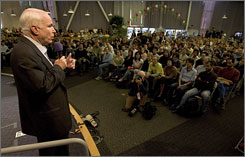 Senator John McCain (R-AZ) speaks to employees at Google in Mountain View, California. McCain took part in a town hall meeting on the Google campus.