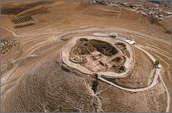 An aerial view of the the hilltop compound of Herodium near Hebron. An Israeli archaeologist says he has found the tomb of King Herod, the legendary builder of ancient Jerusalem and the Holy Land, at the hill site.