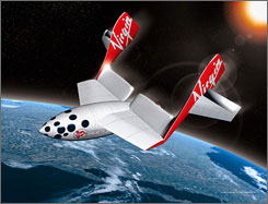 An artist's impression of an early version of a Virgin Galactic passenger spacecraft. Future flights will be on a larger craft.