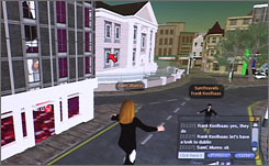 The author's avatar, center, flies down a street in virtual Dublin. With the help of elaborate locales designed and built by Second Life  residents, virtual tourists can go on virtual vacations.