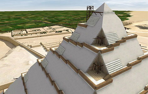 This digital image shows the interior ramps that may have been used to build the upper sections. Such ramps would have been covered by layers of stone that gave the pyramid its smooth appearance.