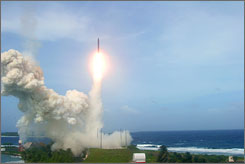 A ground-based interceptor missile is launched in the Marshall Islands during a test Dec. 14, 2005.