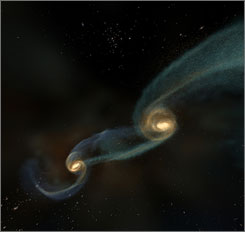 Supermassive black holes lie at the center of large galaxies. When galxies collide over billions of years, as seen in this illustration, the super massive black holes at their centers merge into a single black hole.