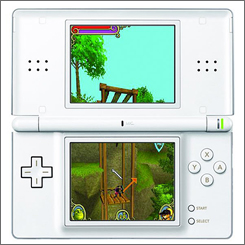 The Nintendo DS version of Activision's Shrek the Third  game focuses on platform puzzle play and has less combat than the console versions.