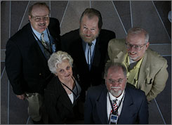 Clockwise from top left, Jerry Pournelle, Arlan Andrews, Greg Bear, Larry Niven and Sage Walker are science ficion writers that attended a Homeland Security conference.  They are part of a group Andrews put together called Sigma with the motto &quot;Science Fiction in the National Interest.&quot;  
