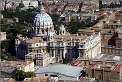 Pope Paul VI auditorium, bottom center, and St. Peter's Basilca at the Vatican. The cement panels of the 6,300 seat auditorium will be replaced by photovoltaic cells to convert sunlight into electricity.