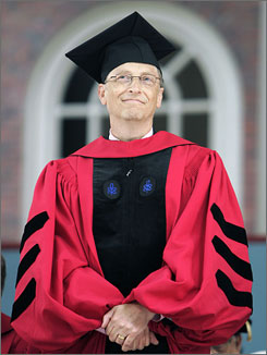 Chairman of Microsoft Corporation Bill Gates stands to accept an honorary Doctor of Laws degree during the 356th Commencement Exercises at Harvard University.
