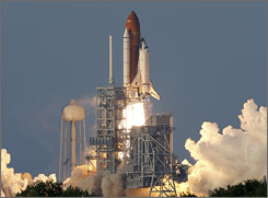 The shuttle and her seven person crew are on an eleven-day mission to the International Space Station.