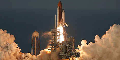Atlantis blasts off from Kennedy Space Center. It was the first time in over four years that the spacecraft made it into orbit on its first try.