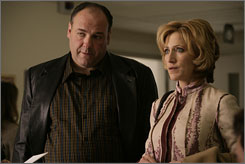 James Gandolfini, left, and Edie Falco, the stars of The Sopranos,'which wrapped up its run Sunday night. A show that can match its success may come from the Net.