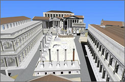 This digital reconstruction shows a view of the ancient Roman Forum.