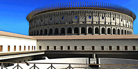 This digital reconstruction provided by authors of the Rome Reborn project shows a view of the Colosseum. Experts unveiled what they called the largest and most complete simulation of a historic city, which digitally recreates Rome as it appeared at the peak of its power. 