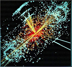A simulated collision of two protons at the European particle physics institute?s, the CERN?s, collider. Two protons collide; this depicts the resulting decay of a Higgs particle. Perhaps we shall soon see a similar decay  except a black hole!