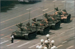 A Chinese man blocks a line of tanks in Tiananmen Square in Beijing in this iconic June 5, 1989 file photo. Yahoo has accused China of blocking access to Flickr, a photo site that has imagery from the Tiananmen Square massacre.