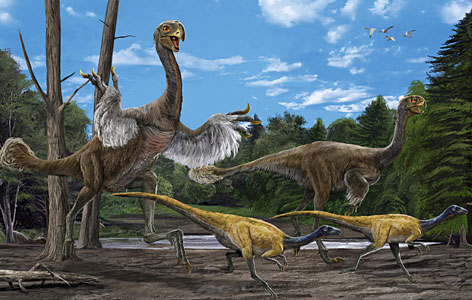 An artist's impression of the newly discovered Gigantoraptor erlianensis. tanding over 5 meters (16.4 feet) tall, and weighing in at 1,400-kilograms (roughly 3,000 pounds), the beast could eyeball a Tyrannosaurus Rex.