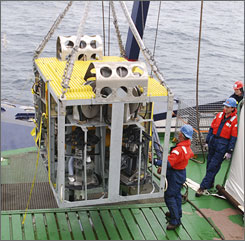 """Scientists plan to use this new robotic underwater vehicle named """"Camper"""" to use to sample new life they believe may be found along a series of underwater hot springs on rugged Gakkel Ridge in the Arctic."""