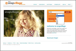 SnapVillage home page. Empowered by Corbis, this microstock site joins a handful of rivals in vying for the attentions of photographers.