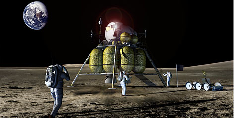 An artist's concept shows astronauts and a lander on the lunar surface. NASA is considering ways to draw in younger audiences, including the possibility of a hi-def video feed from a moon landing planned for ten years from now.