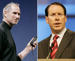 Apple CEO Steve Jobs, left, and AT&T CEO Randall Stephenson.